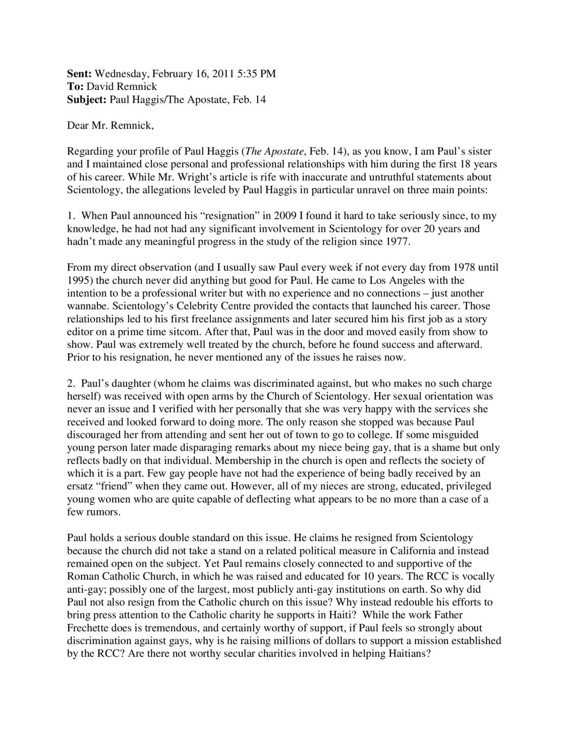 Paul Haggis Letter Of Resignation From The Church Of Scientology